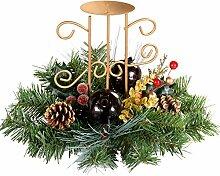WeRChristmas 22 cm, beere/Tischdekoration Tannenzapfen verziert mit 1 Kerzenhalter für Stumpenkerzen, Weihnachtsdeko, Rot/Gold