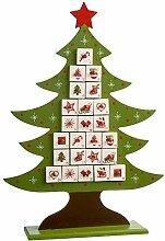 WeRChristmas Holz Weihnachtsbaum Adventskalender
