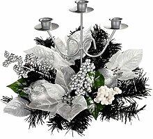 WeRChristmas Kerzenhalter, dreifach, verziert, 22cm, Weihnachts-Dekoration, Schwarz / silberfarben