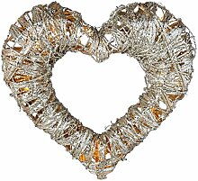 WeRChristmas Silber gewebt Rattan Warm Weiß LED Herz Dekoration mit Besprühen von Glitter, 38cm