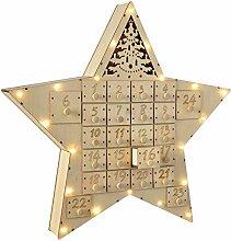 WeRChristmas Star Advent Kalender Weihnachten Dekoration, Holz, mehrfarbig, 43cm