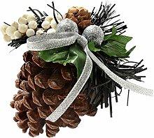WeRChristmas Tannenzapfen verziert, Weihnachts-Dekoration, 5 Stück, schwarz/silber