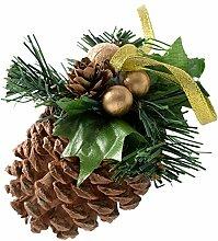 WeRChristmas Tannenzapfen verziert, Weihnachts-Dekoration, 5 Stück, kupfer/Gold