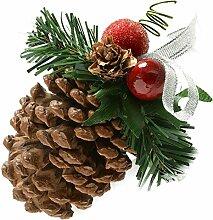 WeRChristmas Tannenzapfen verziert, Weihnachts-Dekoration, 5 Stück, silber-ma