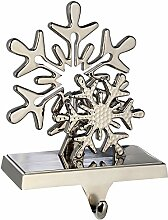 WeRChristmas versilbert Schneeflocke Weihnachtsstrumpf Halter Weihnachten Dekoration, Metall, 17cm