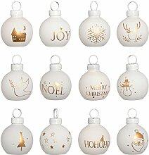WeRChristmas Weihnachten Karte Dekoration, Kunststoff, mehrfarbig, 12Stück