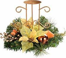 WeRChristmas Weihnachtliche Tischdekoration, Kerzenhalter für 1 Stumpenkerze, 22cm, Kupferfarben/ Goldfarben