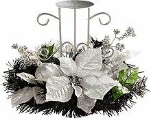 WeRChristmas Weihnachtliche Tischdekoration, Tannenzweig mit Kerzenhalter für 1 Stumpenkerze, 22cm, Schwarz/silberfarben