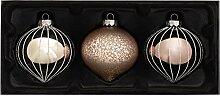 WeRChristmas Weihnachtskugeln aus Glas, Grau, 3