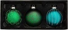 WeRChristmas Weihnachtskugeln aus Glas, Grün, 3