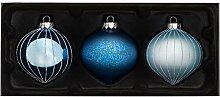 WeRChristmas Weihnachtskugeln, Glas, Blau, 3 Stück