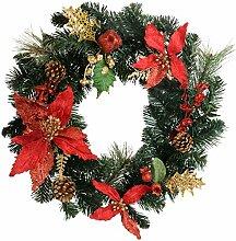 WeRChristmas Wreath 45 cm Weihnachtsdeko, Rot / Gold