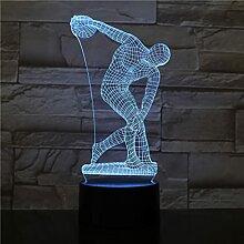 Werfen Diskus 3D Led Schreibtischlampe Nachttisch