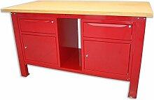 Werkbank 1,5mt. Tischplatte aus Holz + 2Schränke A 1Schublade und Tür Serie Industria Sogi X3–10_ G