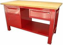 Werkbank 1,5mt. Tischplatte aus Holz + Schrank und Schublade + Schublade Serie Industrie Sogi X3–10_ und