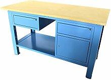 Werkbank 1,5mt. Tischplatte aus Holz + Schrank und Schublade + Schublade Serie Industrie Sogi X3B-10_ und
