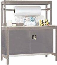 Werkbank 1200 mit Stange, Werkzeugschrank und Lochwand Dunkelgrau/Holz - Maße: 144 x 75 cm (H x T)