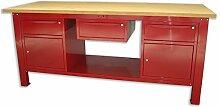 Werkbank 2MT. Mit Tischplatte Aus Holz + 2Schränke A 1Schublade und Tür + 1Schublade