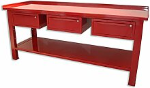Werkbank 2MT. Tisch aus Stahl + 3Schubladen Serie Industrie Sogi X3–11_ C