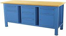 Werkbank 2MT. Tischplatte aus Holz + 2Schränke A 1Schublade und Tür + 1Schrank mit 3Schubladen