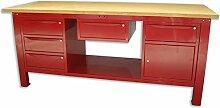 Werkbank 2MT. Tischplatte aus Holz + 2Schränke A 3+ 1Schubladen und Tür + 1Schublade