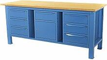 Werkbank 2MT. Tischplatte aus Holz + 2Schränke A 3Schubladen + Schrank Tür und Schublade Sogi