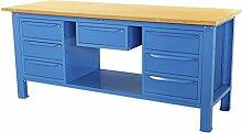 Werkbank 2MT. Tischplatte aus Holz + 2Schränke A 3Schubladen + 1Schublade Serie Industrie Sogi