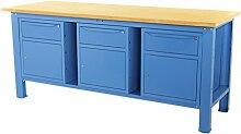 Werkbank 2MT. Tischplatte aus Holz + 3Schränke A 1Schublade und Tür Sogi Industria X3B _ F