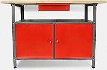 Werkbank aus Metall mit 30 mm Sperrholzplatte, robusten Oberflächen, verschließbaren Türen und Schublade, Maße B 1,20 x H 0,85 X T 0,60 m