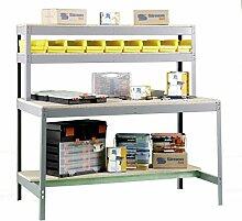 Werkbank BT-1 1800, Farbe: Grau / Holz, Maße: 144 x 180 x 75 cm (H x B x T), Traglast: 600 kg
