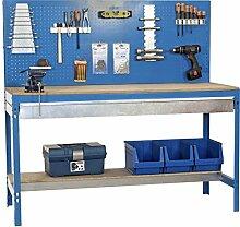 Werkbank BT-2 Box 1500 Blau / Holz, Maße: 144 x 150 x 60 cm (H x B x T), Traglast: 600 kg mit Lochwand und verzinkten Schublade