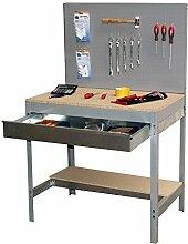 Werkbank BT-2 Box 900 Grau / Holz, Maße: 144 x 90 x60 cm (H x B x T), Traglast: 400 kg mit Lochwand und verzinkter Schublade