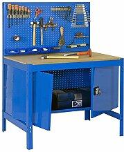 Werkbank BT-2 Locker 1200 Blau / Holz, Maße: 144 x 120 x 60 cm (H x B x T), Traglast: 600 kg mit Lochwand und Werkzeugschrank