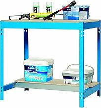 Werkbank BT-3 900 Blau / Holz, Maße: 84 x 90 x 60 cm (H x B x T), Traglast: 400 kg