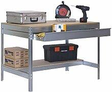 Werkbank BT-3 Box 1200 Verzinkt / Holz, Maße: 84 x 120 x 75 cm (H x B x T), Traglast: 600 kg mit verzinkter Schublade