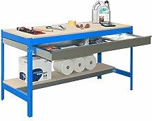Werkbank BT-3 Box 900 Blau / Holz, Maße: 84 x 90 x 60 cm (H x B x T), Traglast: 400 kg mit verzinkter Schublade