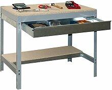 Werkbank BT-3 Box 900 Grau / Holz, Maße: 84 x 90 x 60 cm (H x B x T), Traglast: 400 kg mit verzinkter Schublade