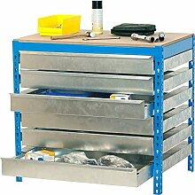 Werkbank BT-5 Box6 1200, Farbe: Blau / Holz, Maße: 84 x 120 x 75 cm (H x B x T), Traglast: 600 kg