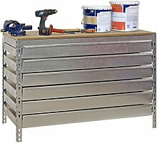 Werkbank BT-5 Box6 1200, Verzinkt / Holz, Maße: 84 x 120 x 75 cm (H x B x T), Traglast: 600 kg