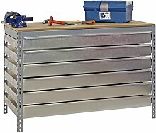 Werkbank BT-5 Box6 1500, Farbe: Grau / Holz, Maße: 84 x 150 x 75 cm (H x B x T), Traglast: 600 kg