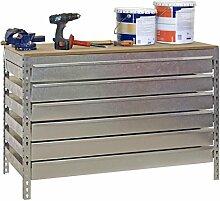 Werkbank BT-5 Box6 1500, Verzinkt / Holz, Maße: 84 x 150 x 75 cm (H x B x T), Traglast: 600 kg