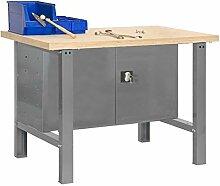 Werkbank Bt - 6 1200 mit Werkzeugschrank und Lochwand in Dunkelgrau/Holz - Maße: 84 x 75 cm (H x T)