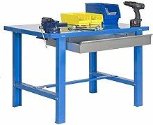 Werkbank BT-6 Box Metallic 1200 X 730 Blau, Maße: 83 x 120 x 73 cm (H x B x T), Traglast: 800 kg mit verzinkter Schublade