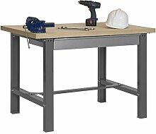 Werkbank BT-6 Box Plywood, Grau / Holz, Maße: 86,50 x 150 x 75 cm (H x B x T), Traglast: 800 kg