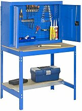 Werkbank BT-7 900 Blau / Holz, Maße: 157,50 x 90 x 75 cm (H x B x T), Traglast: 400 kg mit Lochwand und Werkzeugschrank