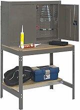 Werkbank BT-7 900, Farbe: Grau / Holz, Maße: 157,50 x 90 x 75 cm (H x B x T), Traglast: 400 kg