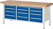 Werkbank, BxTxH 2000x700x840 mm, 12 Schubladen 6x1 20/6x150 mm, Buche-Massiv-Platte 40 mm, RAL7035/RA