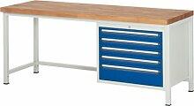 Werkbank, BxTxH 2000x700x840 mm, 5 Schubladen 4x90 /180 mm, Buche-Massiv-Platte 40 mm, RAL7035/RAL501