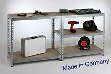 Werkbank II, Professional 180x90x46cm 175kg/Boden verzinkt Metall / Stahl - Regal