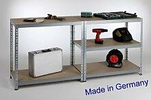Werkbank II, Professional 200x90x60cm, 175kg/Boden, verzinkt Metall / Stahl - Regal
